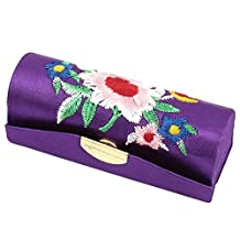 uxcell® Floral Embroidery Lipstick Lip Stick Case Container Box Holder Purple
