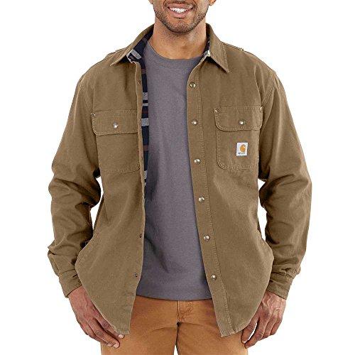 Soft Carhartt Jacket (Carhartt Men's Weathered Canvas Shirt Jacket Snap Front,Frontier Brown,XX-Large)