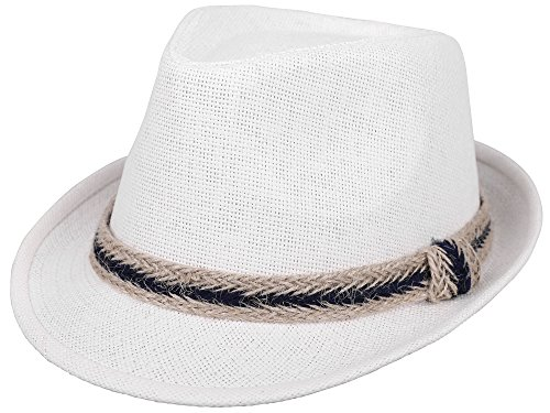 (Simplicity Panama Style Fedora Straw Sun Hat with Band,White)
