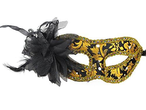 Women's Princess Half Face Mask Venetian Mask Decorated Dance Party Accessories Black -