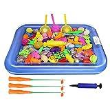 Baiwka Magnetic Fishing Toy Set, 54 Piece Fishing Game Toys with Fishing Poles