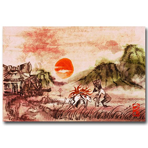 Lawrence Painting Okami Fire Wolf God Art Canvas Poster Print Japanese Game Pictures For BedRoom Decor6