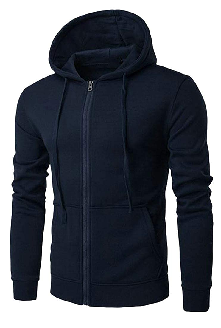 Cromoncent Men Casual Solid Color Zipper Hooded Sport Coat Jacket Sweatshirt