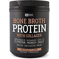NEW! Bone Broth Protein with Collagen (Chocolate Flavor) ~ Paleo & Keto diet approved ~ For Healthy Skin, Joints & Muscles ~ Gluten, GMO & Dairy Free