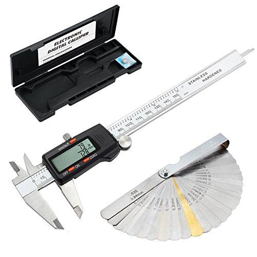 Metric Conversion Tool - ESYNIC Digital Vernier Caliper + Feeler Gauge 150mm/6Inch Stainless Steel Body Electronic Caliper Fractions/Inch/Metric Conversion Measuring Tool for Length Width Depth Inner Diameter Outer Diameter
