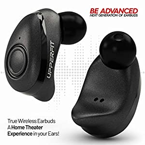 True Wireless Earbuds Headphones – Superior 3D Stereo Sound 5.0 Mini in Ear Bluetooth Earbuds, 18Hr Play Time, SweatProof Sports Earphones Headset, Built in Microphone & Dual Speakers Phone Calls by UpperFit