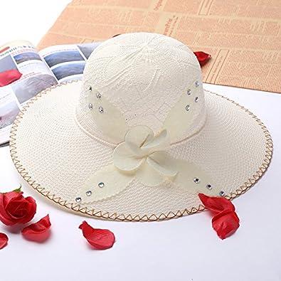 Été Fleur Chapeau Large Floppy Brim Femmes Soleil Plage Chapeau Paille Casual solide