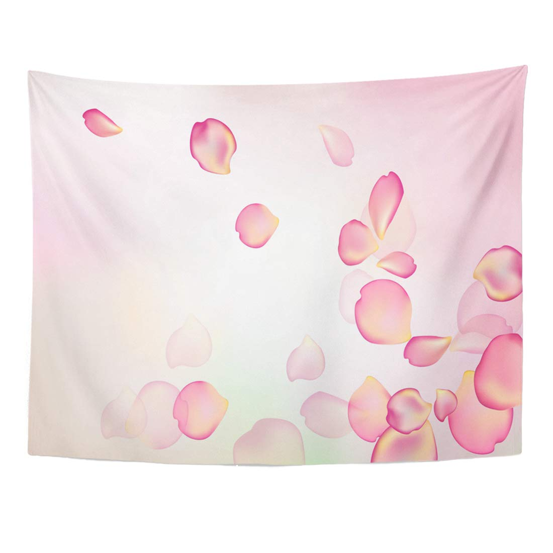 Emvency Tapestry 60 x 50 Inches Pink Romantic Blurred Pastel with Rose Purple Petal Spa Beauty Love White Light Floral Home Decor Tapestries Wall Hangings Art for Living Room Bedroom Dorm