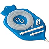 HealthAndYoga(TM) Superior Enema Bag Kit + 2 Compact Travel Enema Bags | 2 quart Fountain (Open) top – High Quality Silicone Hose & Fittings – Blue