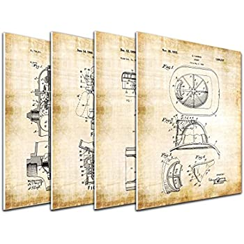 wallsthatspeak 4-Pack of 8x10in Firefighter Patent Wall Art Decor Printed on 3/16 Inch Matboard Fire Engine Fireman Helmet Ready to Hang