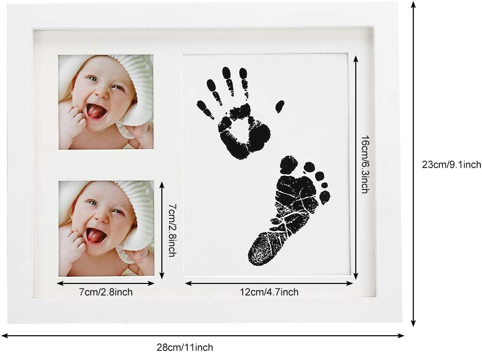 Leyeet Baby Handprint Footprint Photo Frame Kit Wooden Photo Frame Baby Prints Picture Frames with Stamp Ink Newborn Baby Decor Gift