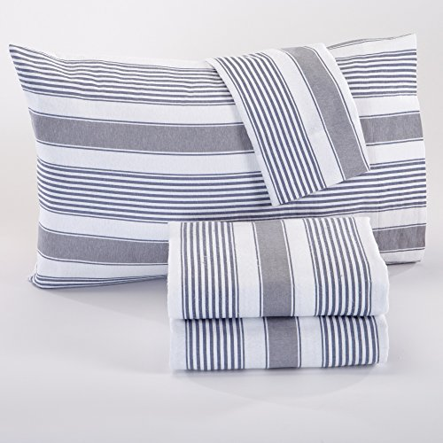 Aspen Collection Extra Soft Printed 100% Cotton Flannel Sheet Set. Warm, Cozy, Lightweight, Luxury Winter Bed Sheets. By Home Fashion Designs. (King, Grey Stripe)