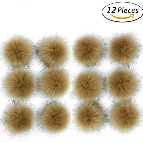 Khaki Mix (Dr Nezix DIY 12pcs Faux Fox Fur Fluffy Pompom Ball Mix Colors for Hats Shoes Scarves Bag Charms Accessories (Khaki 12pcs))