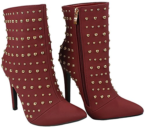 Heel Wine Fur Lined Zip Soft Suede JJF Bootie Shoes Ankle Pointed Stiletto Faux Decor Studded Metal Toe Women wBqw61Tf