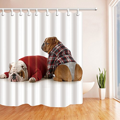 NYMB Dog Lover Decor Bulldog Sleeping Shower Curtain 69X70 inches Mildew Resistant Polyester Fabric Bathroom Fantastic Decorations Bath Curtains Hooks Included (Multi23)