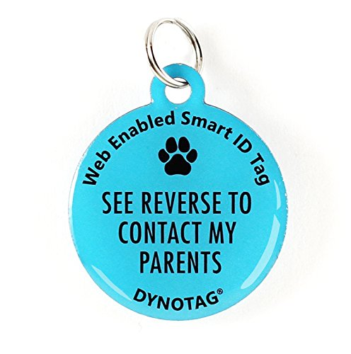 Dynotag Web Enabled Super Pet ID Smart Tag. Deluxe Coated Steel, with DynoIQ & Lifetime Recovery Service. Fun Series (Blue: See Reverse to Contact My Parents) (Find All Accounts Linked To My Email Address)