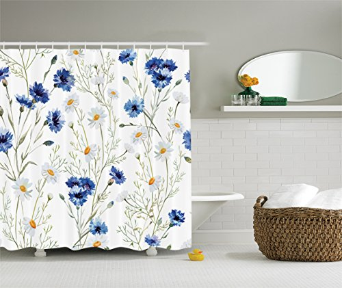 Ambesonne Watercolor Flower Decor Collection, Wildflowers Cornflowers Daisies Blooms and Buds Picture Print, Polyester Fabric Bathroom Shower Curtain Set with Hooks, Blue White