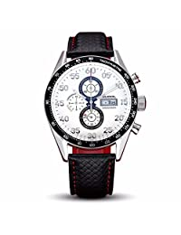 Morrivoe Men's Watch Analogue Date Display Leather Strap Japan Quartz Wristwatch with Sapphire Crystal Dial