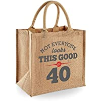 40th Birthday Keepsake Gift Vintage Jute Bag for Women Novelty Shopping Tote