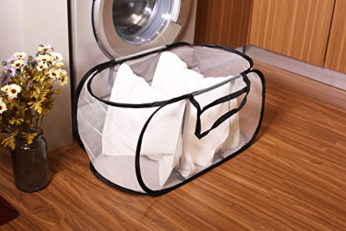 Mesh Collapsible Pop Up Laundry Storage, Estorager 3 part Laundry Organized Laundry Hampers Baskets with Portable Handles (Black handle, S) (Basket Laundry With Dividers Plastic)