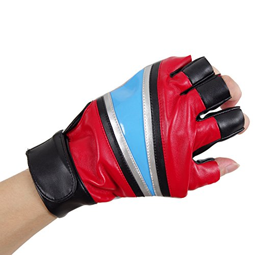 Expeke Gloves Cosplay Costumes Accessory Glove Left Hand (Main Red)]()