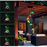 Color-Changing LED Solar Mobile Wind Chime Solar Powered LED Hanging Six Hummingbird Lamp WindChime Light for Outdoor Indoor Home yard Garden Decoration