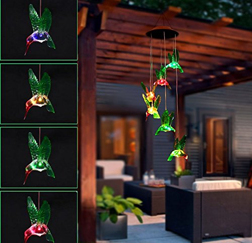 Color-Changing LED Solar Mobile Wind Chime Solar Powered LED Hanging Six Hummingbird Lamp WindChime Light for Outdoor Indoor Home yard Garden Decoration Wishlink