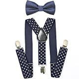Child Kids Suspenders Bowtie Set - Adjustable Suspender Set for Boys and Girls(Navy blue Polka dot)