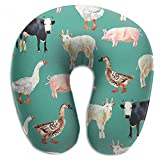 Raglan Carnegie Green Farm Animal Watercolor Neck Head Support Travel Rest U Shaped Pillow for Airplane Train Car Bus Office