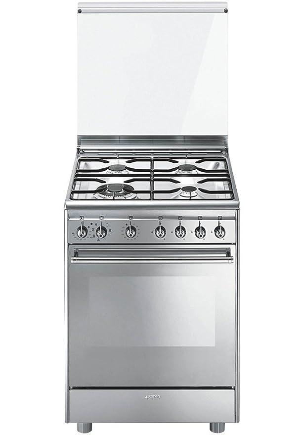 Smeg CX68M8-1 Autonome Cuisinière à gaz A Acier inoxydable four et ...