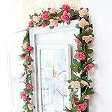 Meiliy 2 Pack 16.4 FT Fake Rose Vine Flowers Plants Artificial Flower Home Hotel Office Wedding Party Garden Craft Art Decor Pink ML-021pi