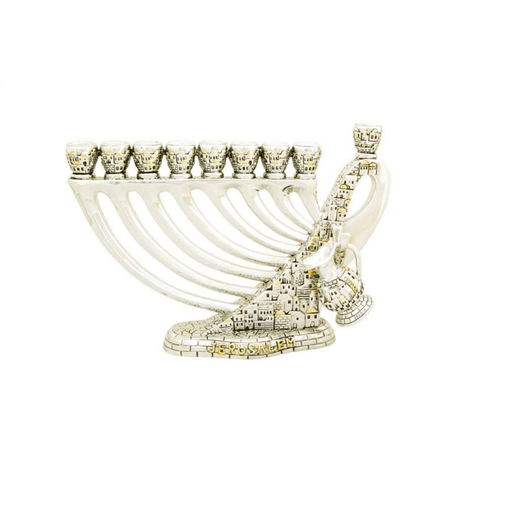 Israel David Harp Silver Jerusalem Hanukkah Menorah