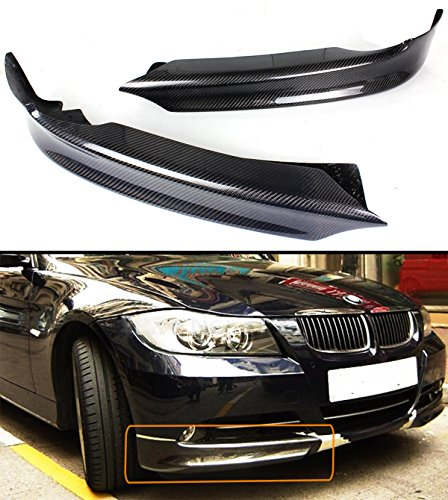 2 PC CARBON FIBER FRONT BUMPER LIP SPLITTER FOR 2006-2008 BMW E90 E91 3 SERIES W/ REGULAR BUMPER (Front Fiber Splitter Carbon)