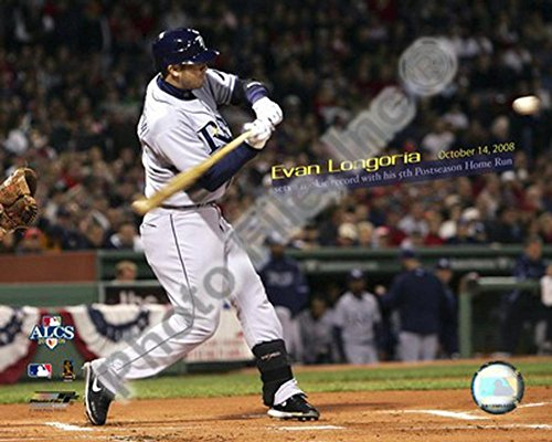 Evan Longoria Most Postseason Home Runs by a Rookie 2008 ALCS Game 4 Photo 10 x 8in - Most Rookie Post