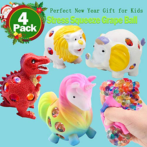 4 Pack Stress Relief Toys, Stress Squeeze Grape Ball for Kids Fidget Unicorn Dinosaur Lion for Autism Bad Habits Anxiety More- Risk-Free Sensory Rubber Ball Christmas Birthday Gifts -