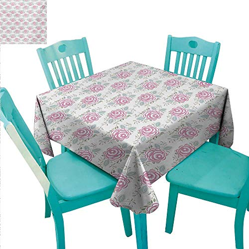 WilliamsDecor Vintage Fabric Dust-Proof Table Cover Romantic Rose Composition with Spring Season Foliage and Petals Indoor Outdoor Camping Picnic 54