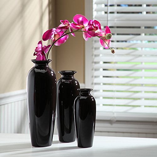 Hosley set of 3 black ceramic vases in gift box ideal for for Home decor uae