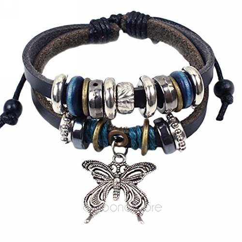 MAKIYO Vintage Multilayer Leather Beaded Charms Butterfly Cross Braided Hand Chain Boho Bracelet Retro Cuff Style...
