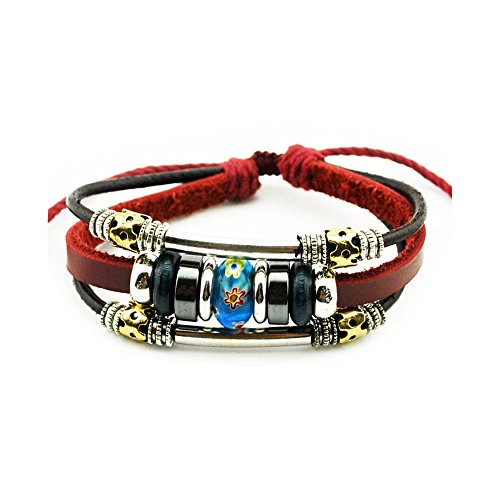 Shepherds Costume Diy (The November Nocturne Wine Red Leather Silver Tone Tube 3 Row Blue Painting Flower Bead Wrap Bracelet)