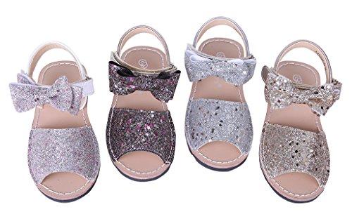 Pettigirl Niñas Zapatos Antideslizante Princesa Nupcial Fiesta Lentejuela Sandalias con Bowknot Dorado