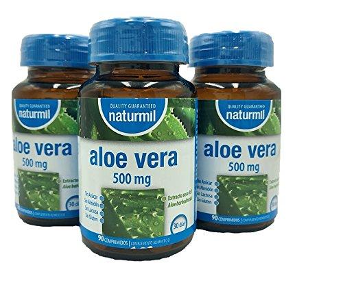 NATURMIL Aloe Vera 500 mg limpieza de colon, pack de (2 X 90) 180 comprimidos, para desintoxicar el organismo, para consumo diario, contra el estreñimiento ...
