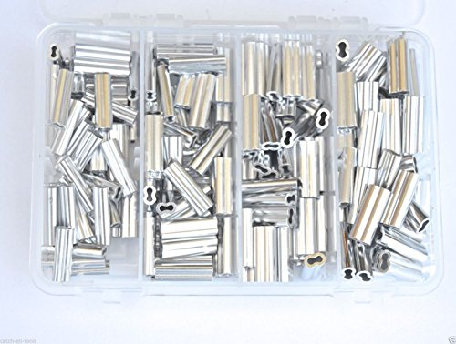 Aluminum Double Barrel Crimp Kit 50pcs each 1.5,1.7,2.0,& 2.3mm 200lb-400lb