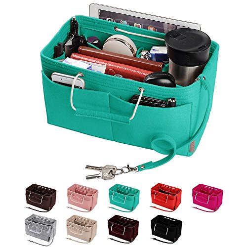 Purse Organizer, Multi-Pocket Felt Handbag Organizer, Purse Insert Organizer with Handles, Medium, Large (Medium, Tiffany Bule)