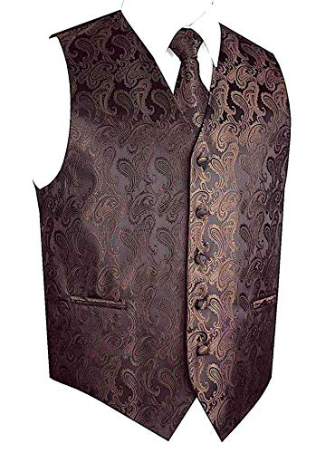 Men's 3pc Paisley Design Dress Vest Tie Handkerchief Set For Suit or Tuxedo (XL (Chest 46), Brown/Black)