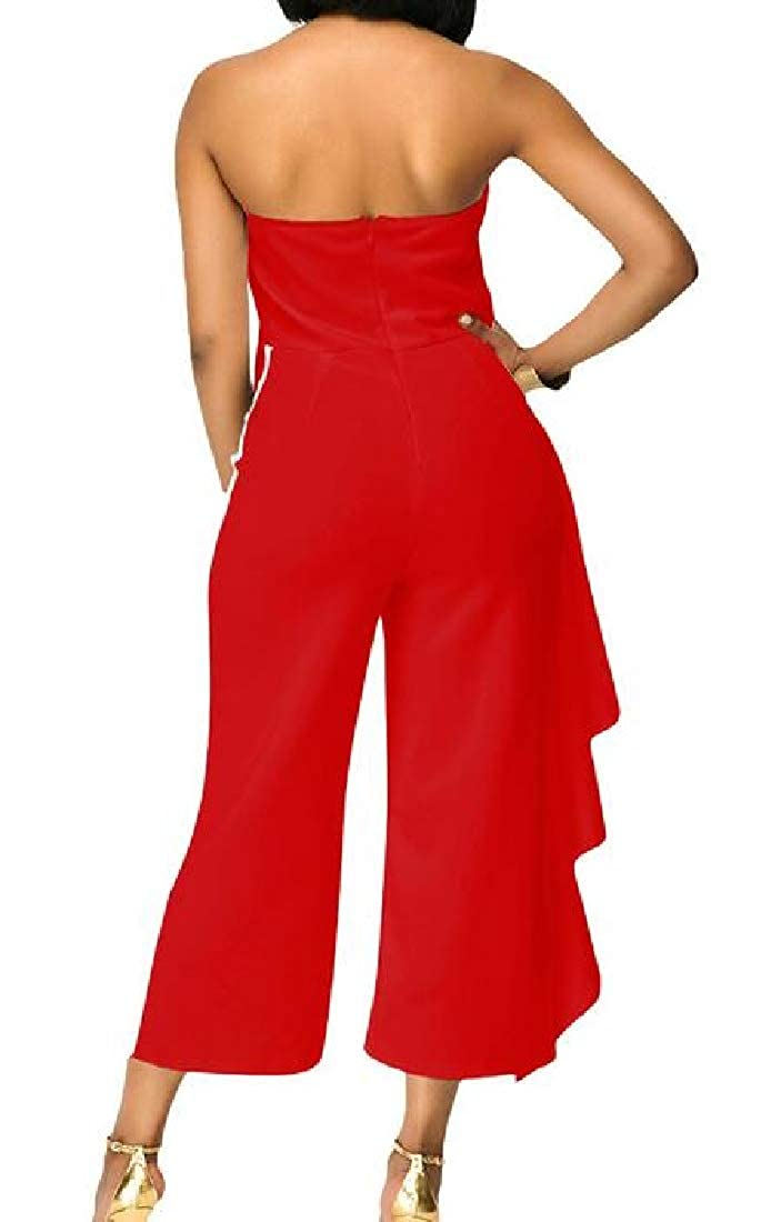 Macondoo Womens Cut Out Shoulder Ruffle Wide Leg Strapless Ankle Length Jumpsuits