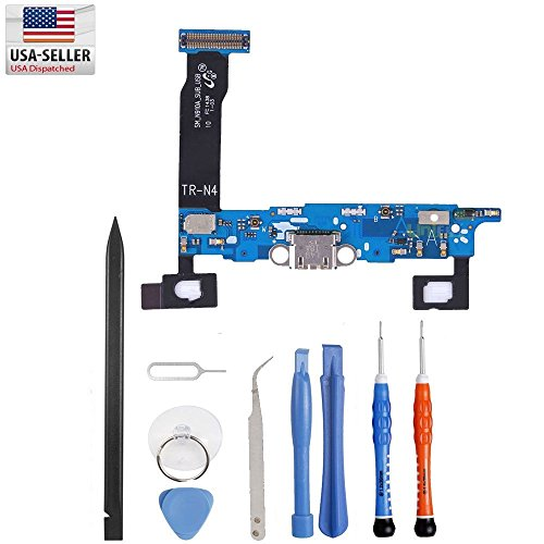 Charge Port Connector - Unifix-Charging Port Flex Cable Dock Connector USB Port Replacement for Samsung Galaxy Note 4 N910A AT&T + Premium Tools
