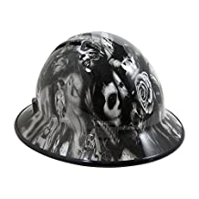 HardHatGear Custom Hydro Dipped VENTED Full Brim Hard Hat in Day of the Dead (Black) - Made in USA