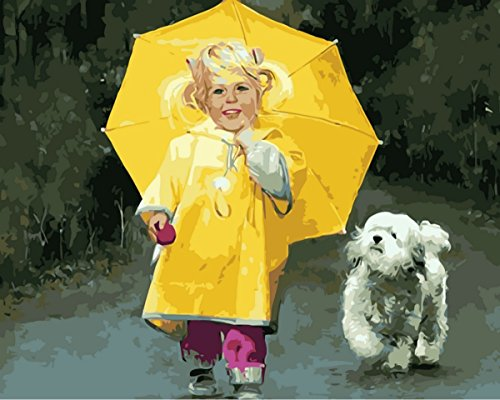 JynXos Paint by Number Kits for Adults Kids - Yellow Raincoat Umbrella Happy Girl with Dog 16x20 inch Linen Canvas without Wooden Frame