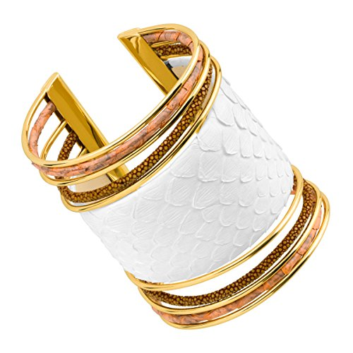 Cristina Sabatini Large Cobra Cuff Bracelet with Genuine Stingray & Python Leather in 18K Gold-Plated Brass