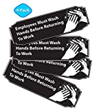 Employees Must Wash Hands Before Returning to Work Sign Black and White, 9' x 3' for for Restaurants, Salons, Hotels and Motels, Gas Stations, Rest Stops 3M Tape on The Back (4 Pack Black Aluminum)